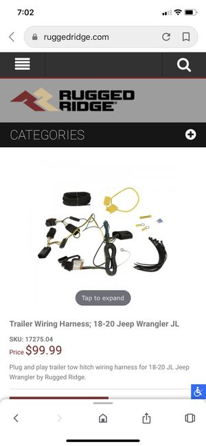 Jeep Wrangler trailer wiring harness for Sale in Stockton, CA