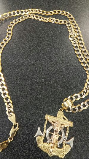 14k yellow gold mariner cross pendant Cuban link chain for Sale in Marietta, GA