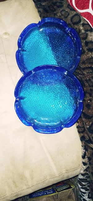 Vintage Hocking sapphire blue glass ashtrays and Princess House small plates three total for Sale in Sacramento, CA