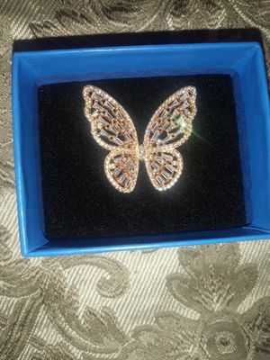 Cubic Zirconia Butterfly Ring in 14k Rose Gold-Plated Sterling Silver for Sale in Everett, WA