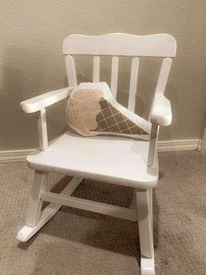 White Wood Toddler Kids Rocking Chair Farmhouse Seating Sturdy! White Home Decor for Sale in Sherwood, OR