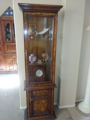Wood Cabinet With glass shelves and storage on bottom for Sale in Indio, CA