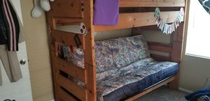 Solid oak bunk bet set w queen size futon/couch for Sale in Wichita, KS