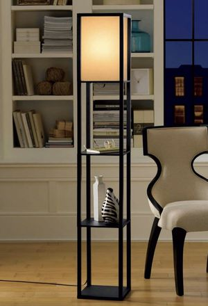 Floor Lamp with Shelving - Made of Wood - Linen Shade and Pull Chain Light - NEW IN BOX - Shippable 📦 for Sale in Joliet, IL