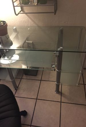 Glass office desk and leather chair for Sale in Miami, FL