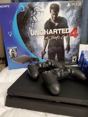 Like New Playstation 4 Slim w/2 controllers & Games for Sale in Chino Hills, CA