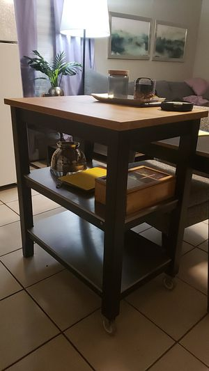 Stainless steel black kitchen island with wheels natural wood countertop shelf organizer like new for Sale in Miami, FL