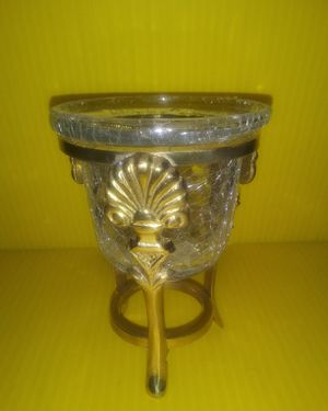 Art Deco Clam Scroll Stand w/ Crackle Glass Votive Holder for Sale in Raleigh, NC
