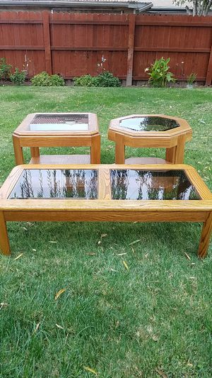 3 glass wooden glass coffee tables for Sale in Fresno, CA
