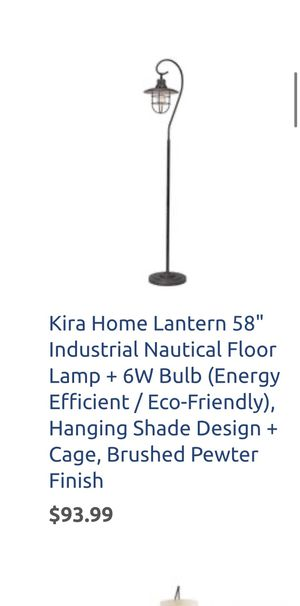 """Kira Home Lantern 58"""" Industrial Nautical Floor Lamp + 6W Bulb (Energy Efficient / Eco-Friendly), Hanging Shade Design + Cage, Brushed Pewter Finish for Sale in Bakersfield, CA"""