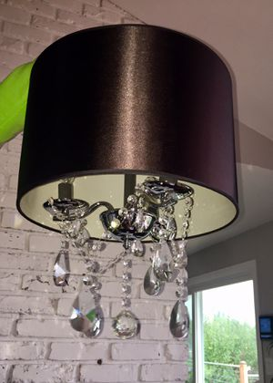 Crystal chandelier with black shade for Sale in Tacoma, WA