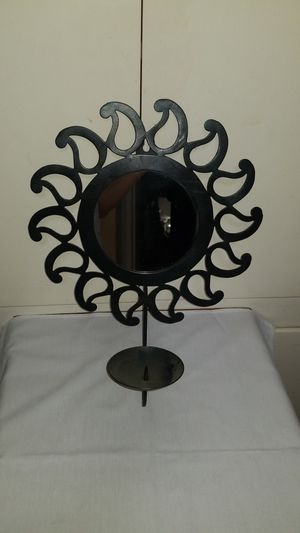 Set of 2 black metal star burst with mirror/candle holder for Sale in Orange, CA