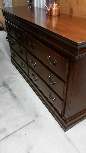 QUALITY SOLID WOOD LONG DRESSER ALL DRAWERS SLIDING SMOTHY EXCELLENT CONDITION for Sale in Fairfax, VA