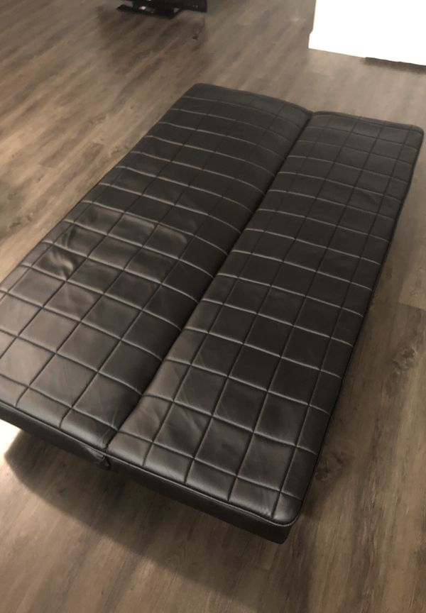 Black Leather Sofa / futon