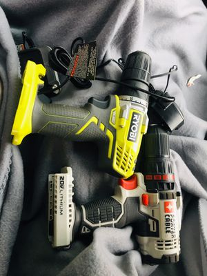 Several different tools power tools handtools knives all different types of things will settle as a whole package with three drills one impact gun to for Sale in Portland, OR