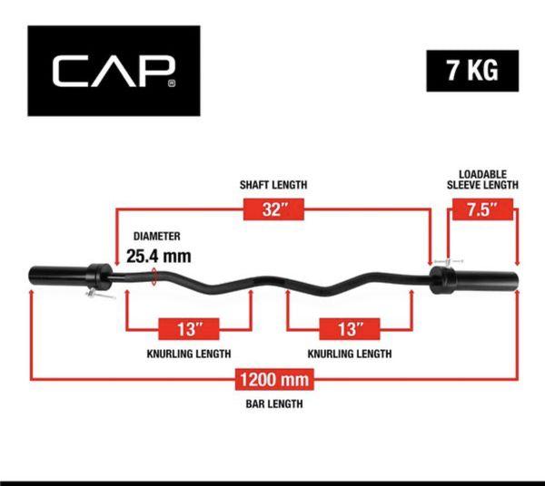 "CAP Barbell 47"" Olympic EZ Curl Bar, Black"