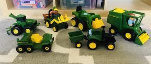 John Deere farm machinery toys set of 6 trucks, tractor, harvester, soil plow etc for Sale in Roanoke, TX