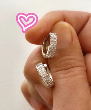 18K White Gold Filled Pave Hoop Earrings for Sale in San Ramon, CA