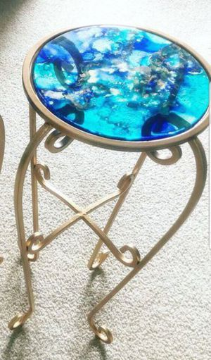 side table thick glass alcohol inked resined end table plant table stand for Sale in Germantown, MD