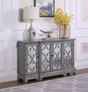 Large 4 Door Accent Cabinet in Antique Grey Finish! Lowest Prices Ever! for Sale in Sacramento, CA