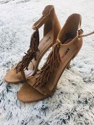 Ankle strap fringe heels for Sale in Stockton, CA