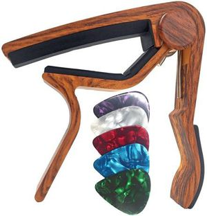 WINGO Guitar Capo for Acoustic and Electric Guitars - Rosewood with 5 Picks for Sale in Smyrna, TN
