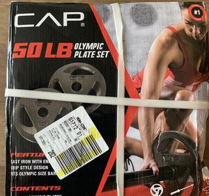 CAP 50LB Olympic Weight Plate Set (2) 25LB Plates Cast Iron 2 Inch for Sale in Pinellas Park, FL