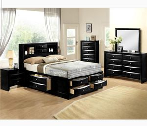 BRAND NEW QUEEN BEDROOM SET INCLUDES BED FRAME DRESSER MIRROR AND NIGHTSTAND ADD MATTRESS ALL NEW FURNITURE BY USA MEXICO FURNITURE 3 DIFERENT COLORS for Sale in Montclair, CA