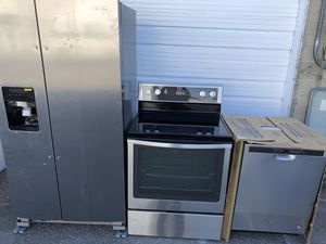 Beautiful new whirlpool stainless steel appliance package,free delivery for Sale in Midvale, UT