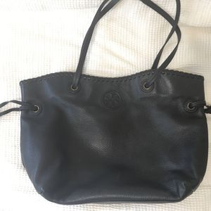 TORY BURCH black leather big bag hobo tote satchel for Sale in Chula Vista, CA