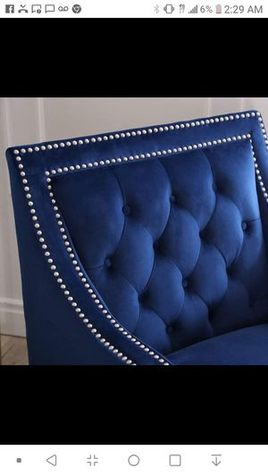 Blue velvet tufted hand studied chairs for Sale in Seattle, WA