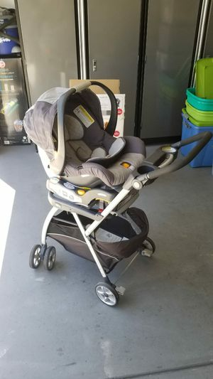 Almost new Chicco brand carseat with base and frame stroller. for Sale in Tracy, CA