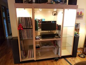 Entertainment Center With Glass Shelves And Lighting for Sale in Kirkland, WA