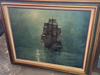 Vintage Framed Ship Print for Sale in Des Moines,  WA
