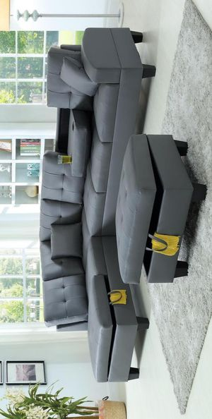 delivery the next day🍀Tello Gray Sectional with Ottoman | U5100 for Sale in Jessup, MD