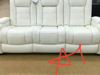 ☄39$ Down Payment☄Party Time White LED Power Reclining Sofa with Adjustable Headrest for Sale in Owings Mills,  MD