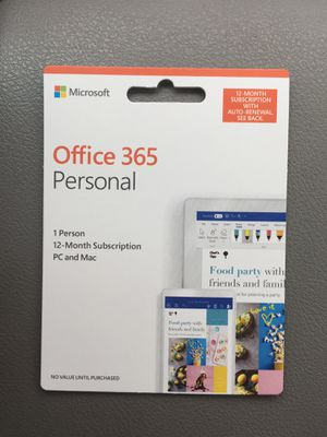GREAT FOR BACK TO SCHOOL! Microsoft office 365 personal 12 month subscription for PC and Mac computer for Sale in Hudson, NH