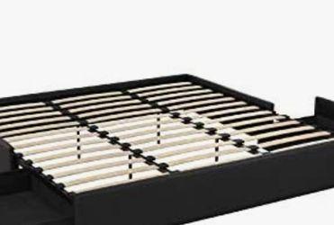 DHP Maven Platform Storage, King Size Frame, Black Upholstered Beds, Faux Leather for Sale in Groveport,  OH