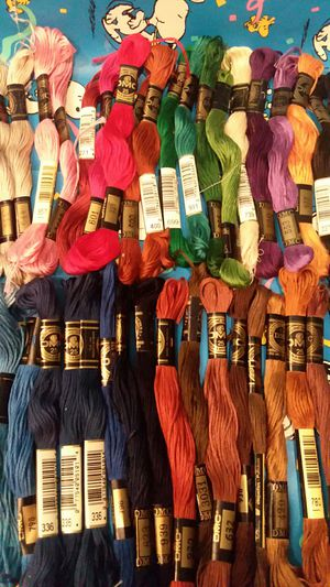 40 pc DMC embroidery floss made in France rainbow of colors green Blues Brown black for Sale in Lakewood, CA