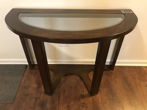 Half Moon Console Table - Solid Wood/Glass top for Sale in Brooklyn, NY