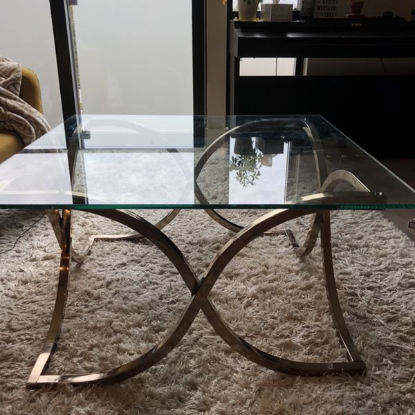 Glass and gold metal coffee table