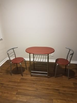 3-Piece Wooden Kitchen Dining Room Round Table and Chairs Set w/Built in Wine Rack for Sale in Rockville, MD