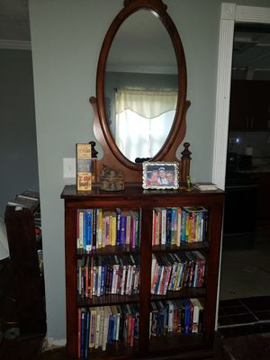All wood book shelf w antique mirror for Sale in Atlanta, GA