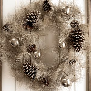Holiday Christmas Wreath Vintage Aged Silver Finish + Pinecones & Ornament Accents NEW for Sale in Sherwood, OR