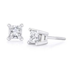 Princess Cut 0.30 ctw VS2 Clarity, I Color Diamond 14kt White Gold Screwback Stud Earrings for Sale in Alexandria, VA
