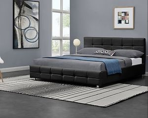 New queen black upholstery bed frame, mattress sold separately for Sale in Palm Springs, FL