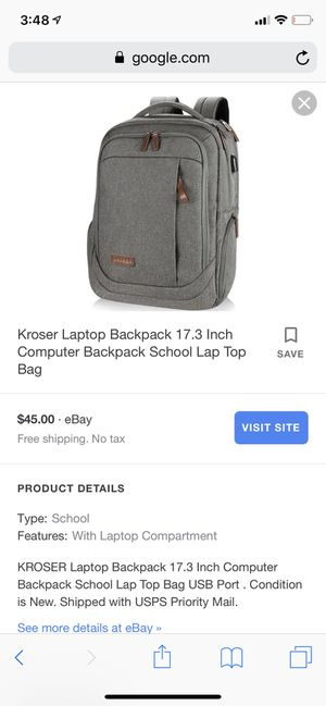 Kroser Laptop Backpack 17.3 Inch Computer Backpack School Lap Top Bag for Sale in Kansas City, MO