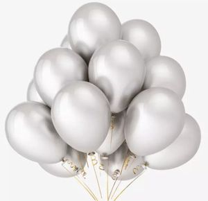 One dozen Silver Metallic balloons with helium for Sale in Baldwin Park, CA