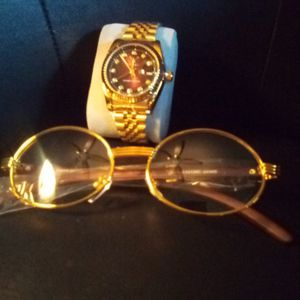 Combination No Fading Waterproof Resizeable Timepiece Wood Like Style Glasses Golden for Sale in West Palm Beach, FL