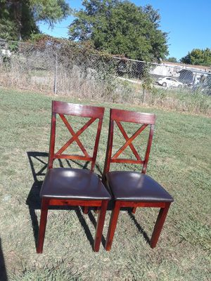 2 Leathers Chairs with Wooden 40.. For Both for Sale in Princeton, TX